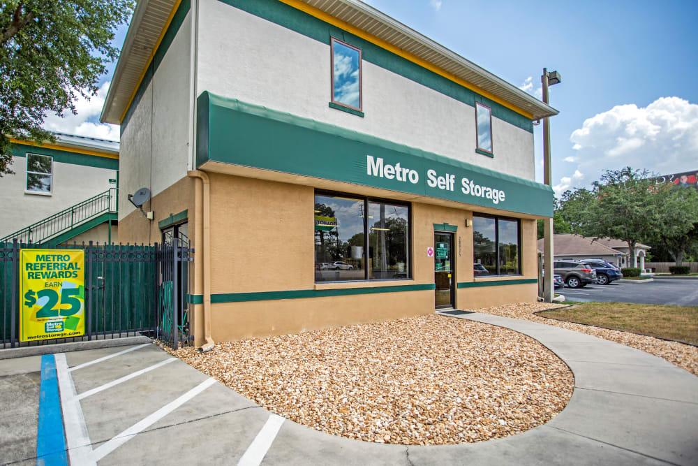 Leasing office frontal view at Metro Self Storage in Wesley Chapel, Florida
