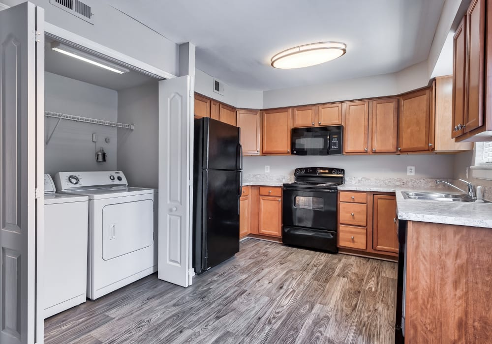 Kitchen and laundry at Maple Bay Townhomes in Virginia Beach, Virginia