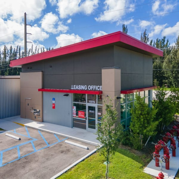 Parking in front of the main entrance at StorQuest Express Self Service Storage in Cape Coral, Florida