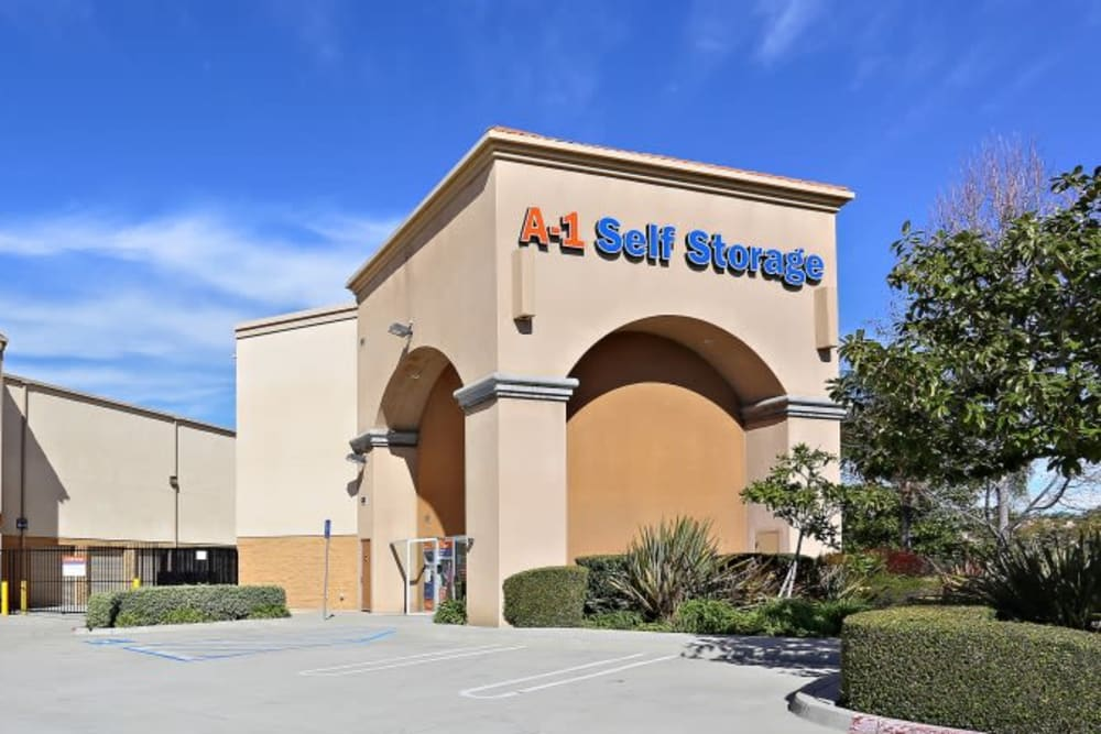 The front entrance to A-1 Self Storage in Chula Vista, California
