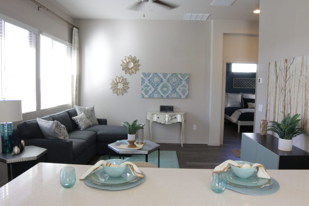 Luxury living room and dining area at Avilla Victoria townhomes in Queen Creek, Arizona