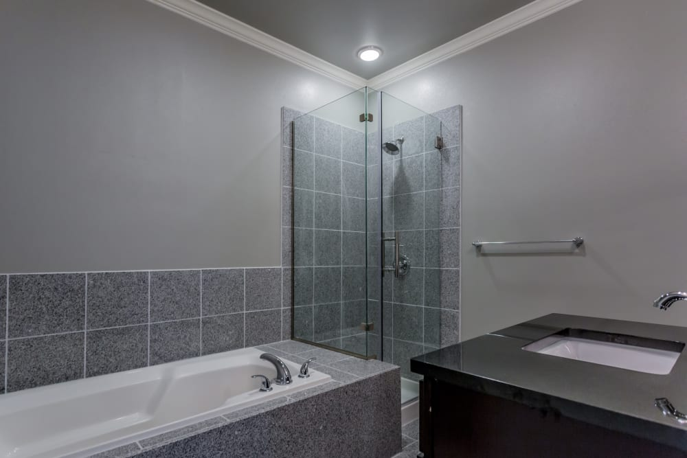 Model bathroom at Arlo Luxury Apartment Homes in Little Rock, Arkansas