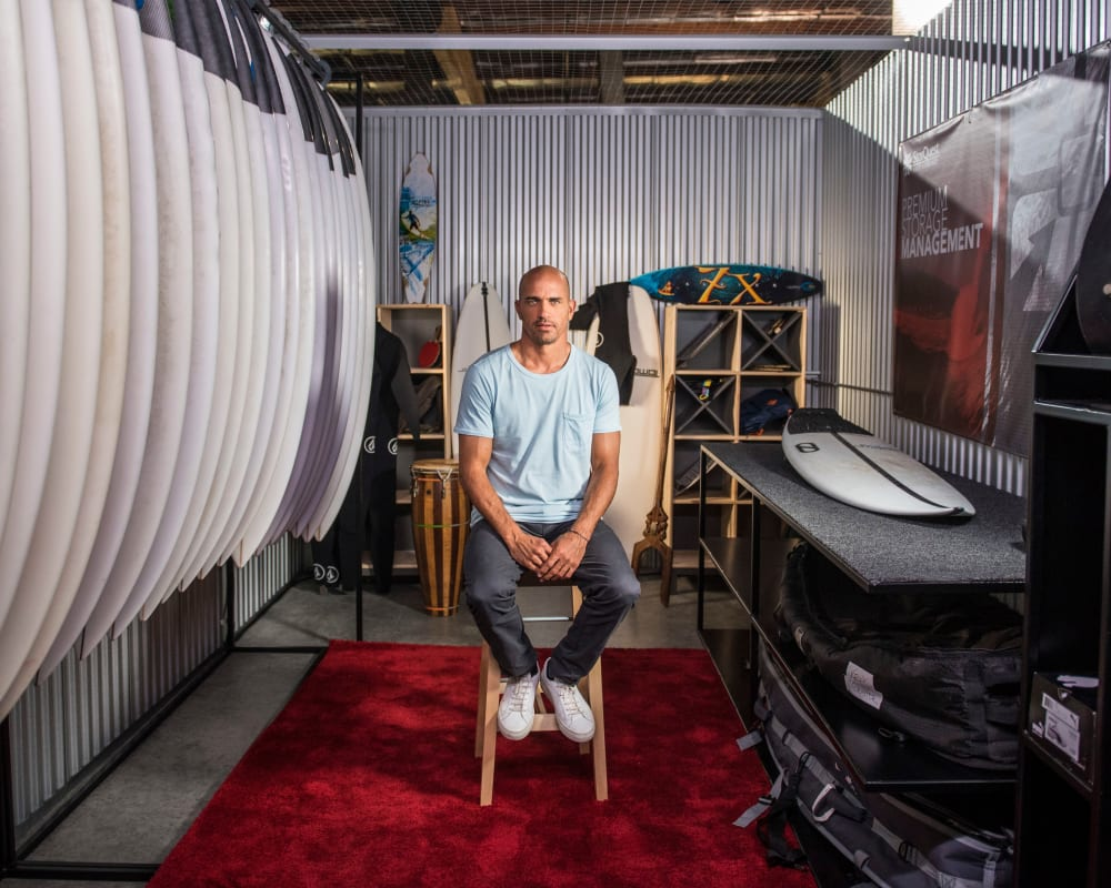 World Champion Surfer Kelly Slater, an ambassador for StorQuest Self Storage