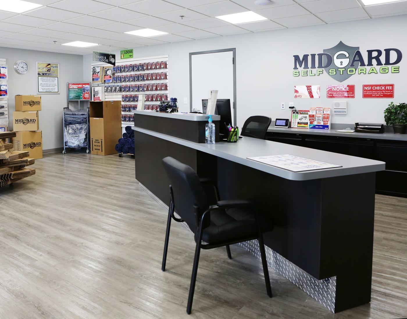 Leasing office at Midgard Self Storage in Midland, North Carolina