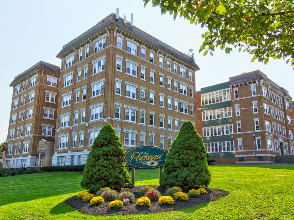 Updated exterior of The Packard apartments in West Hartford, Connecticut