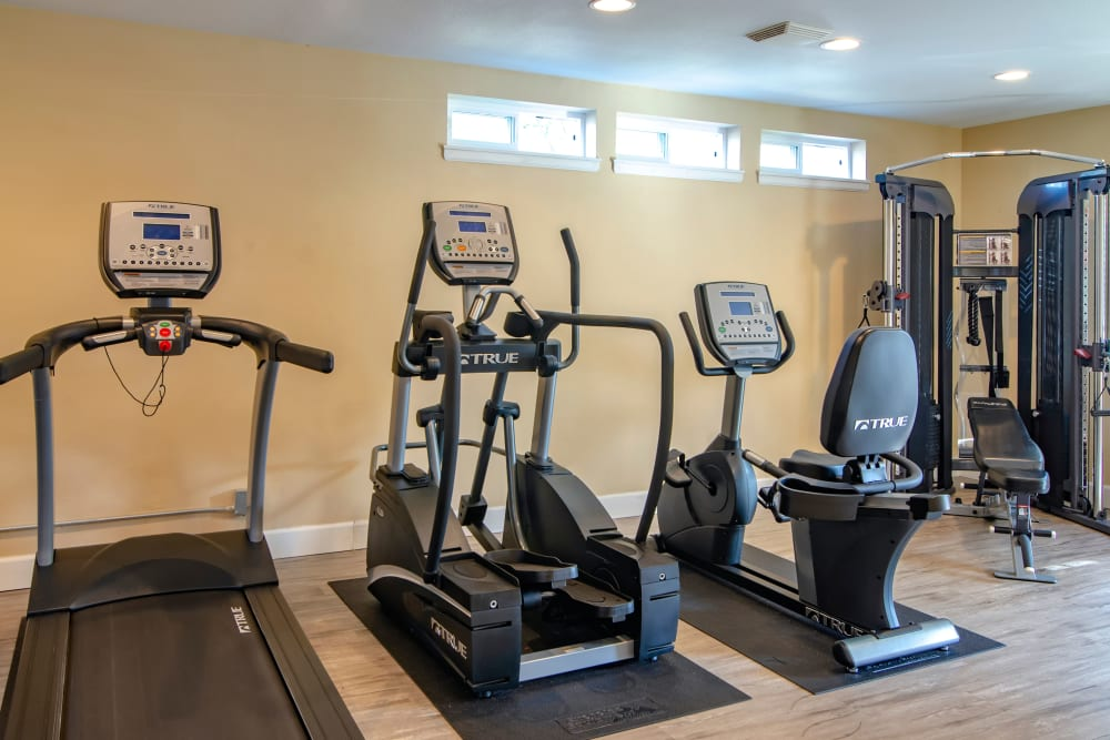 Fitness center with plenty of individual workout stations at The Addison Apartments in Vancouver, Washington