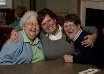 Residents smiling and having fun at Maple Ridge Senior Living in Ashland, Oregon
