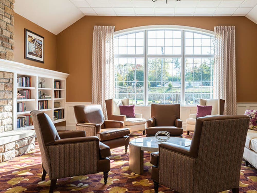 Lounge with a large window and lots of seating at Randall Residence of Centerville in Centerville, Ohio