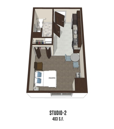 Independent living Studio 2 is 403 square feet at Smith's Mill Health Campus in New Albany, Ohio.