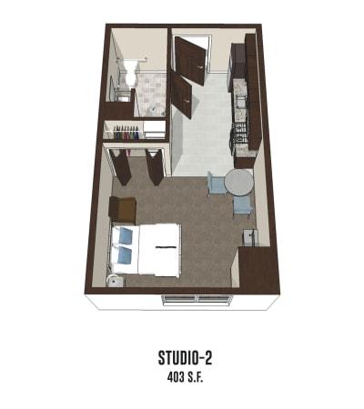 Independent living Studio 2 is 403 square feet at Pickerington in Pickerington, Ohio.