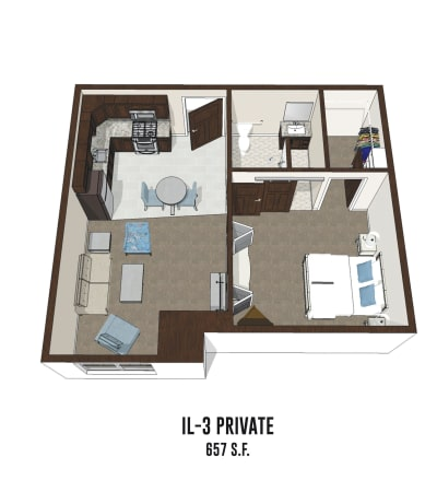 Independent living private room 3 is 657 square feet at Hilliard in Hilliard, Ohio.