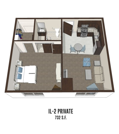 Independent living private room 2 is 732 square feet at Mt Washington in Mt Washington, Kentucky.
