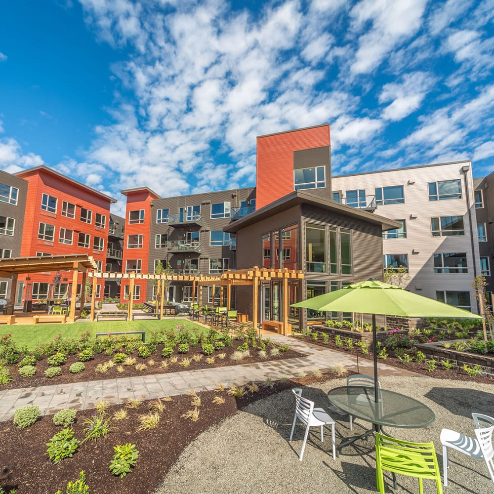 Courtyard and apartment buildings at South Block Apartments in Salem, Oregon