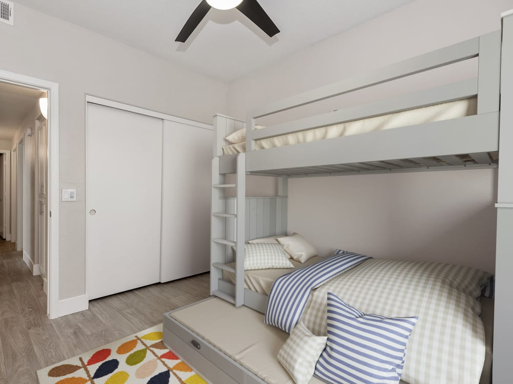 Bedroom with bunk beds at The Retreat Apartments in Phoenix, AZ