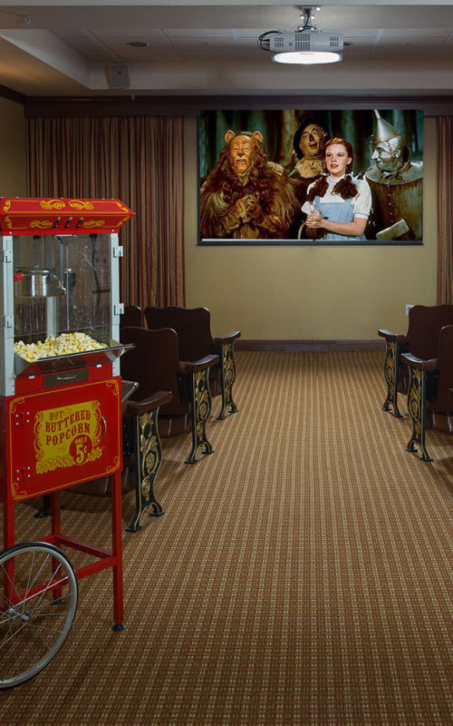 Theater and popcorn machine at Estancia Del Sol in Corona, California