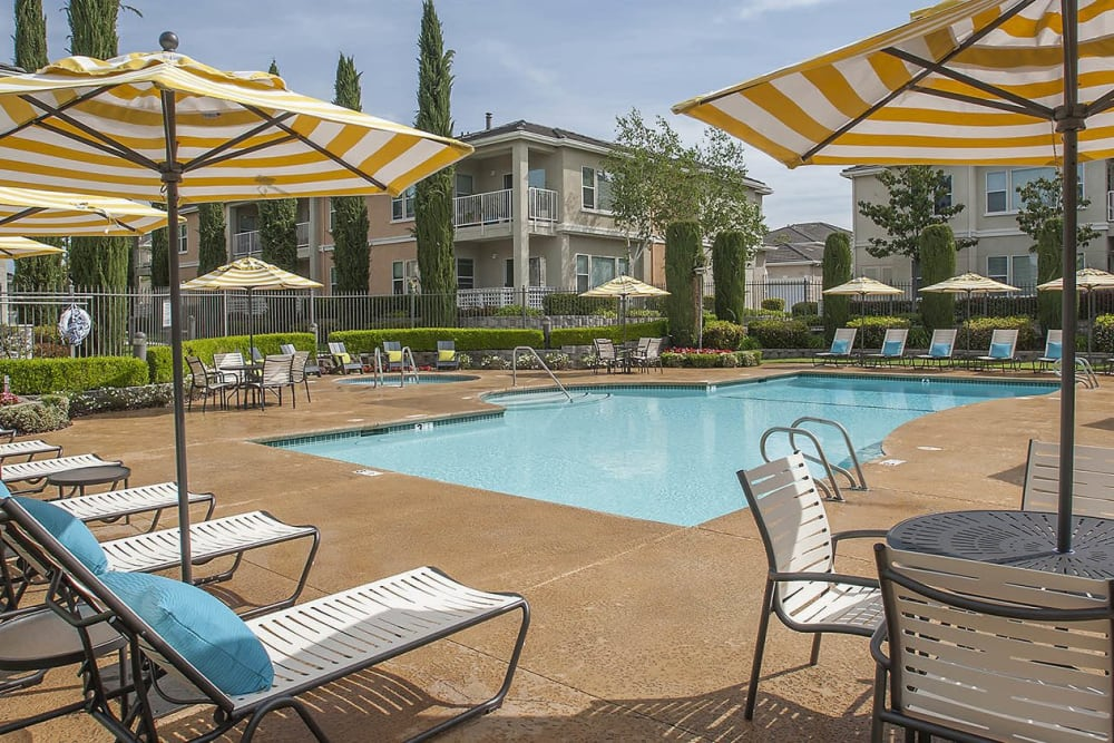 Resort-style swimming pool with plenty of lounge chairs at Iron Point at Prairie Oaks in Folsom, California