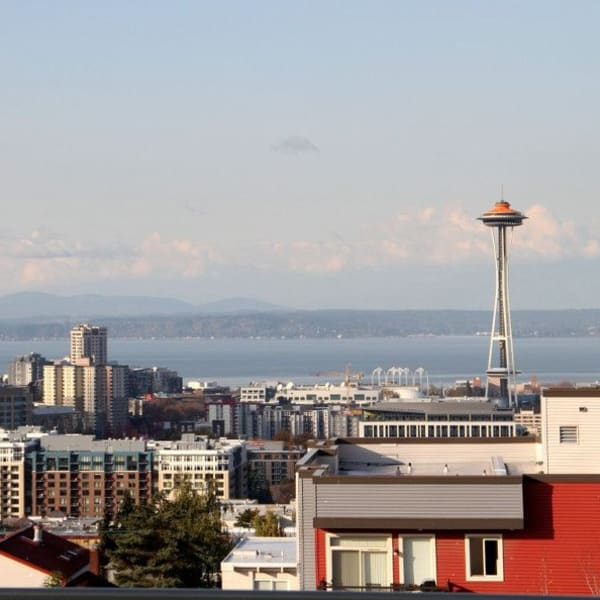 View of the space needle from The Lyric in Seattle, Washington