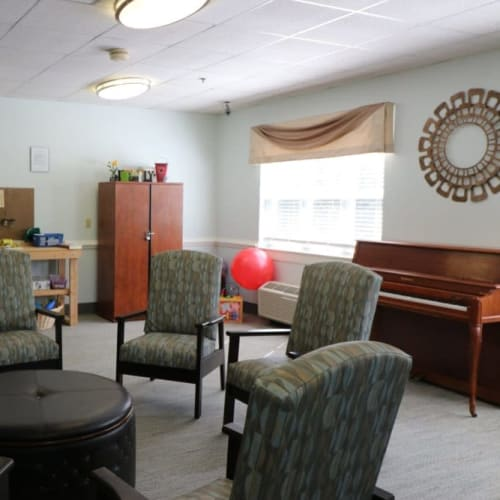 An activity room at The Crossings at Ironbridge in Chester, Virginia