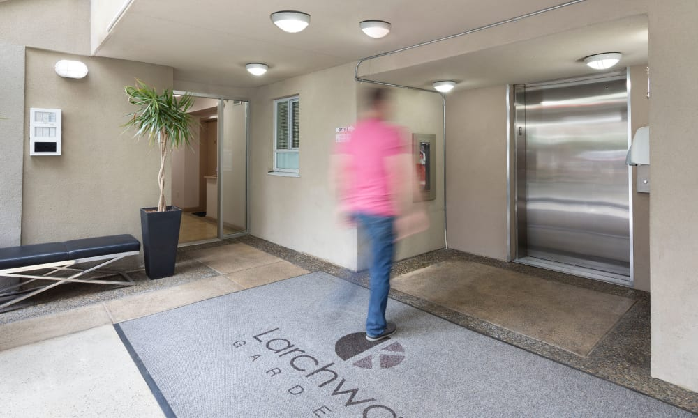 Elevator access at Larchway Gardens in Vancouver, British Columbia