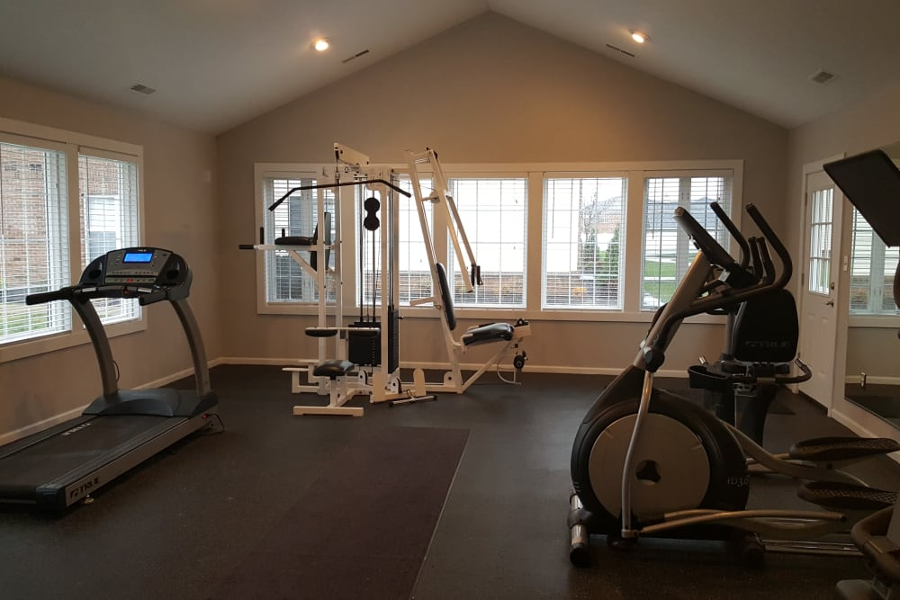 Fully equipped fitness center at Enclave at Albany Park in Westerville, Ohio