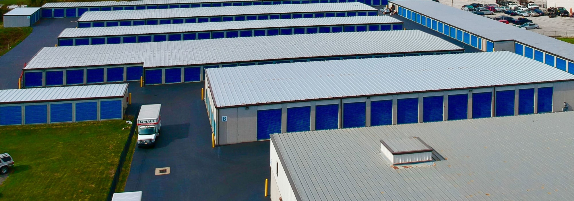 The drive-up self storage units available for rent at Westerville Mini Storage in Westerville, Ohio