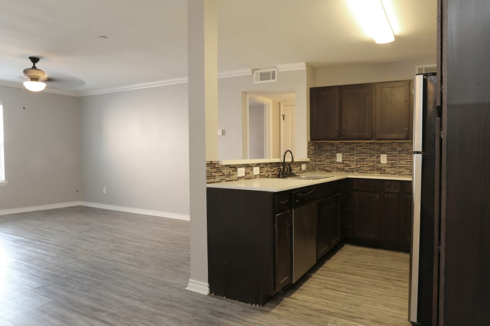 Kitchen and living room at Sterling Park in Norman, Oklahoma