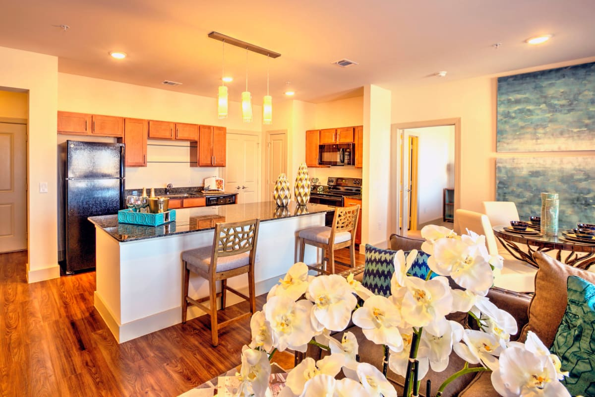 A beautifully decorate kitchen at Watercrest at Kingwood in Kingwood, Texas