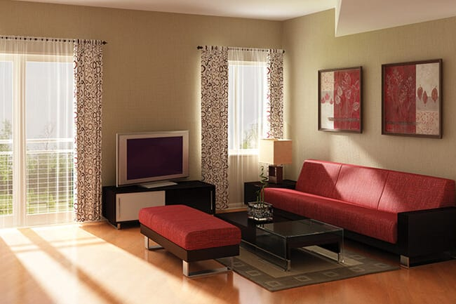 Model living room at Argent Apartments in Silver Spring, Maryland