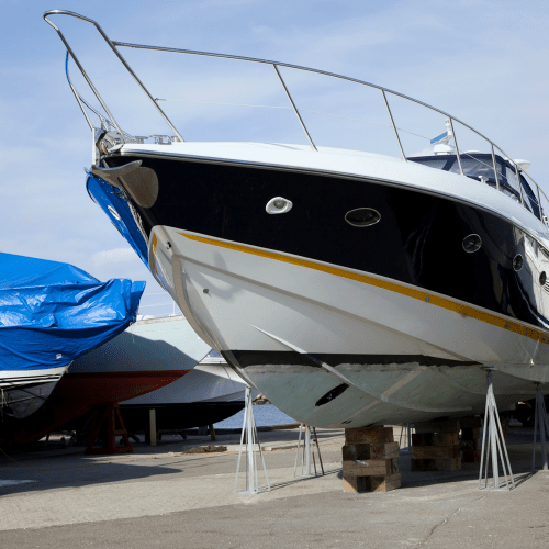 Boats parked at A-American Self Storage in Palmdale, California