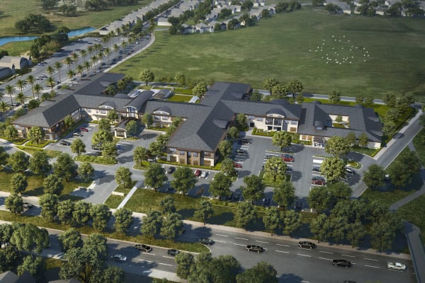 Aerial view rendering of Merrill Gardens at Brentwood in Brentwood, California.