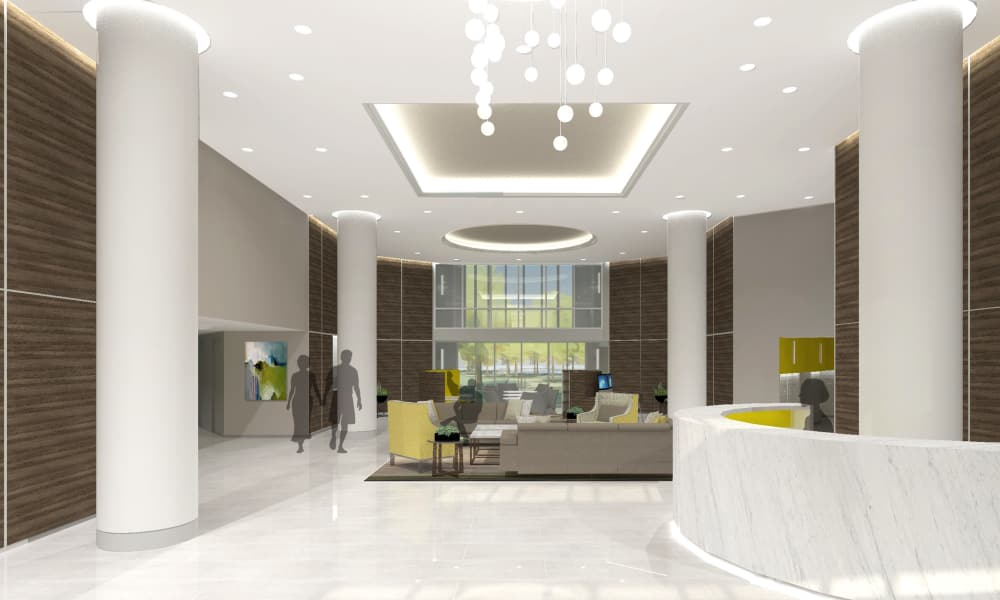 Rendering of Alexander House's lobby in Silver Spring, Maryland