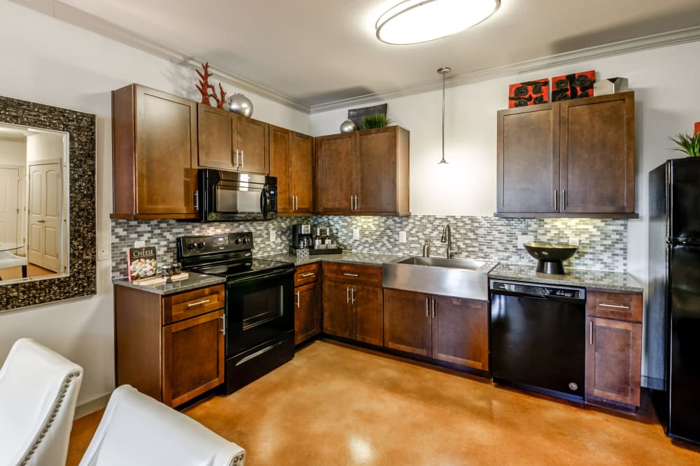 Open concept kitchen at Firewheel Apartments in San Antonio