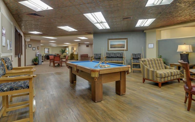 Community billiards available at SummitView Terrace in Kansas City, Missouri