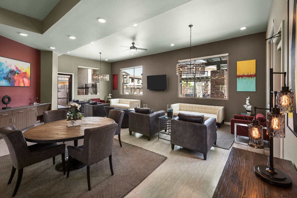 Contemporary decor in resident clubhouse at The Maxx 159 in Goodyear, Arizona