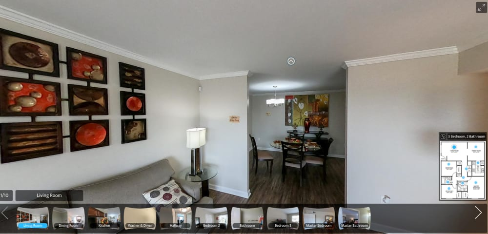 virtual tour of 3 Bedroom 2 Bath apartment at Emerald Pointe Apartment Homes in Harvey, Louisiana