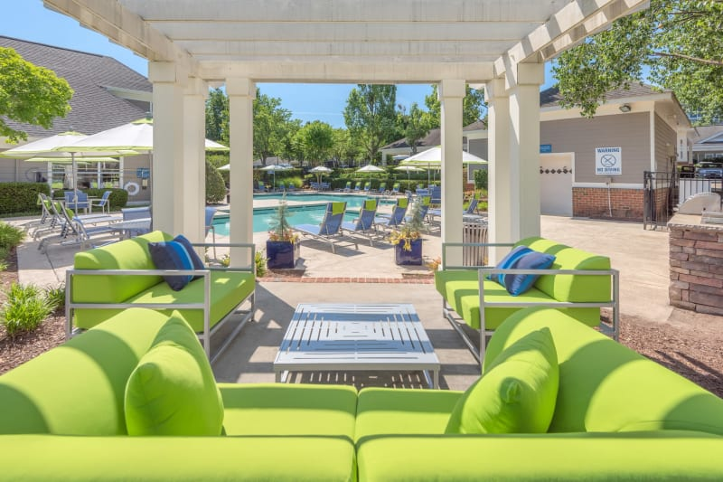 Poolside BBQ and gazebo at The Mark in Raleigh, North Carolina
