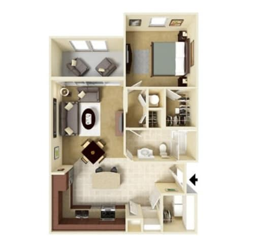 One bedroom floor plan at Integra Hills Apartment Homes in Ooltewah, Tennessee