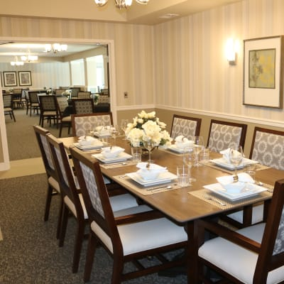 Elegant dining room for residents at The Sanctuary at Brooklyn Center in Brooklyn Center, Minnesota