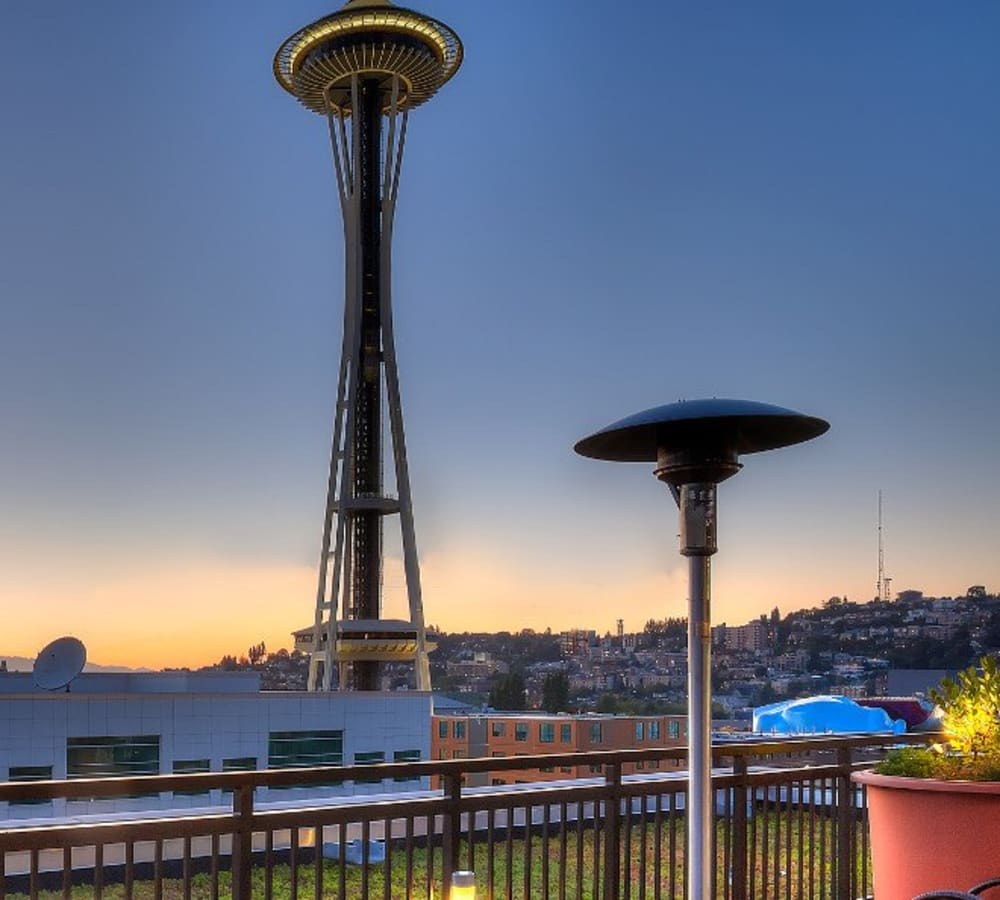 View of the space needle from The Century in Seattle, Washington