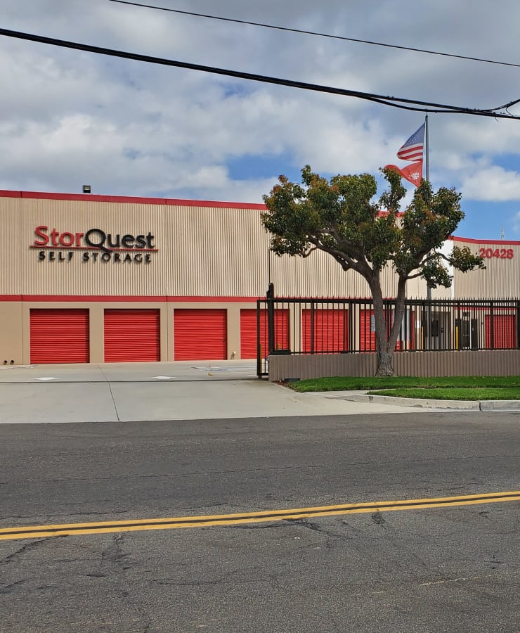 The exterior of the main entrance at StorQuest Self Storage in Torrance, California