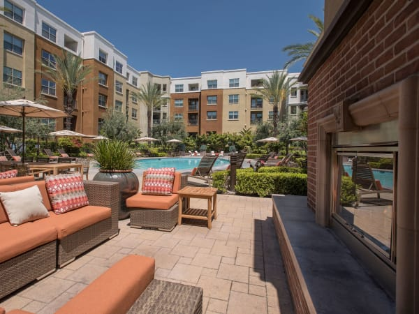 Outdoor lounge area at Paragon at Old Town in Monrovia, California