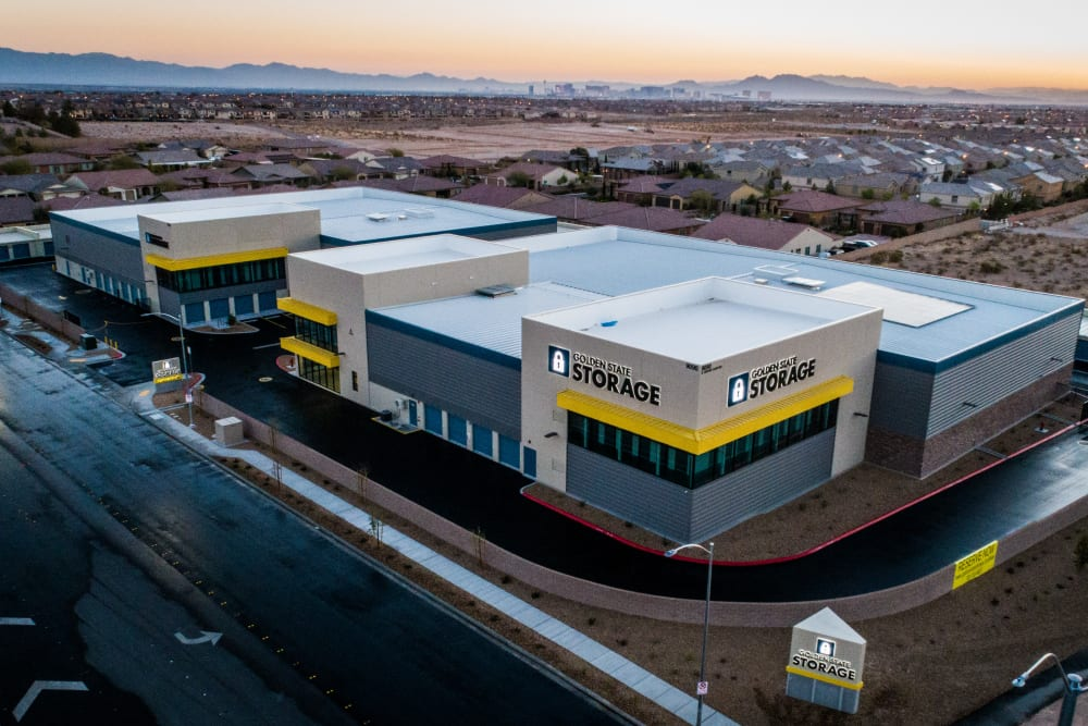 Aerial image of Golden State Storage - Blue Diamond sign on exterior of building in Las Vegas, NV
