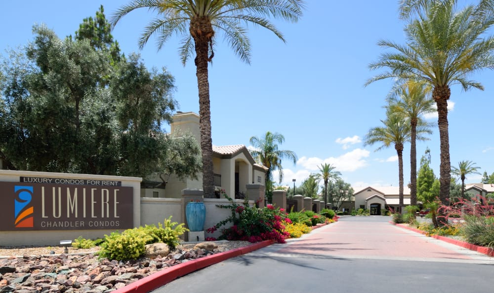 Our sign welcoming residents and their guests to Lumiere Chandler in Chandler, Arizona