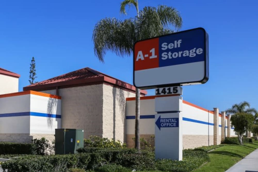 The front entrance to A-1 Self Storage in Fullerton, California
