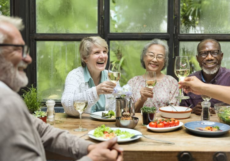 Seniors Drinking Wine at Oakmont Gardens in Santa Rosa, California