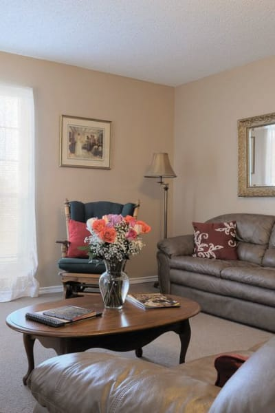 Modern cottage living room at Quail Park of Granbury in Granbury, Texas