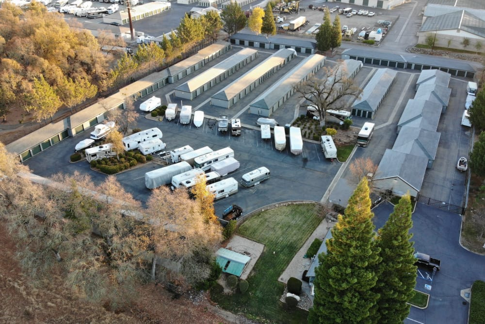 Aerial view of RV parking at Superior Self Storage in Rough and Ready, California