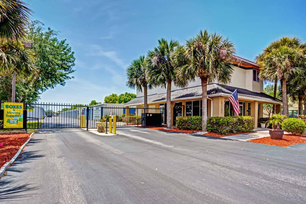 Access gate with security panel at Metro Self Storage in Fort Myers, Florida