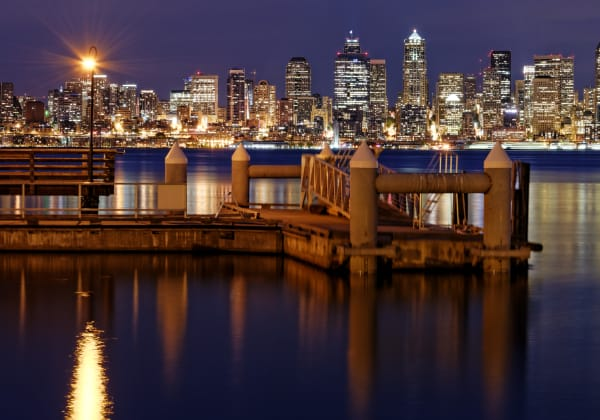 The city of Seattle at night near Marq West Seattle in Seattle, Washington