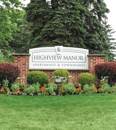 Signage at Highview Manor Apartments in Fairport, New York